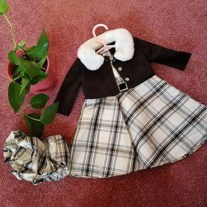 Youngland 3pc Plaid Formal Dress Set Newborn 6/9